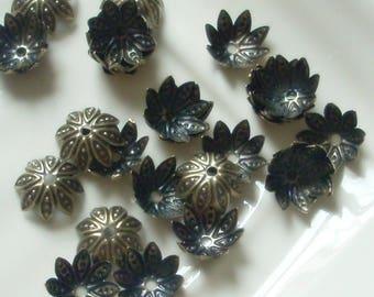 Antique Brass Spiky Petal Stamped Bead Cap, 8mm, 24 pcs