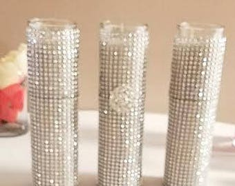 Jar candle covered with rhinestones. Wedding or event candle/ bling/ brooch/ set of 3