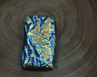 Metallic Blue and Gold Dichroic Glass Pendant