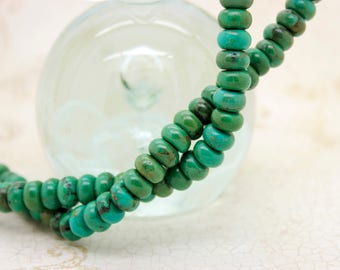 Tibet Turquoise Rondelle Natural Gemstone Beads (2mm x 4mm, 4mm x 6mm, 5mm x 8mm, 6mm x 10mm)