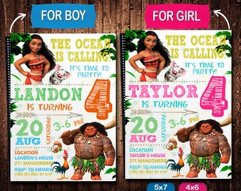 Moana Invitation, Moana Invite, Moana Birthday, Moana Party, Moana Printable, Moana Birthday Party, Moana Digital