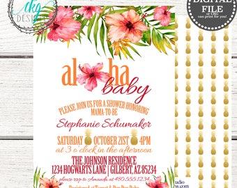 aloha baby shower invitation luau baby shower invite tropical baby shower invitation pineapple