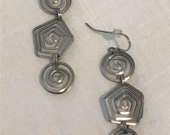 Vintage Silver Swirl Earrings