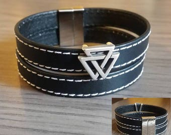 Silver plated triangle stitched black leather cuff