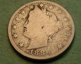 Liberty V Nickel Key Date 1886 Good<>ET4151