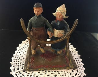 Vintage Painted Dutch Couple Holding Hands - Made from Metal