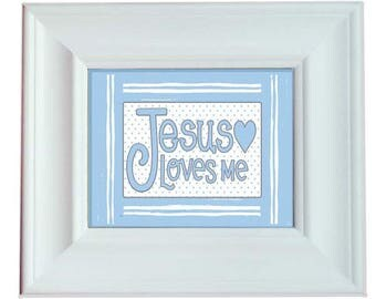 Blue Jesus Loves Me - Framed Art