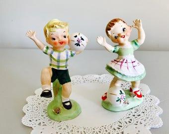 REDUCED- Vintage Kids Boy Girl Playing Ball Spring Summer Plaid Kitschy Figurine Japan 1950's