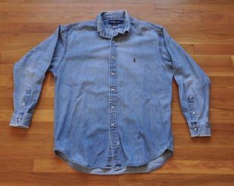 "Vintage 1990s Ralph Lauren Polo Denim ""Tangled Up In Blue"" Shirt // M // Oxford // Tommy Hilfiger // Nautica // Frat // Streetwear //"