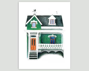 Montreal House in Emerald Green – Fine Art Print of Original Drawing