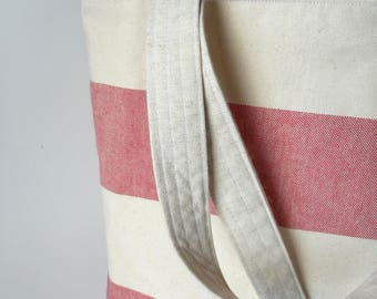 zipper tote ,zipper canvas bag,stripped tote, stripes bag ,  lining internalpockets, natural fabrics, natural cotton canvas, beach bag