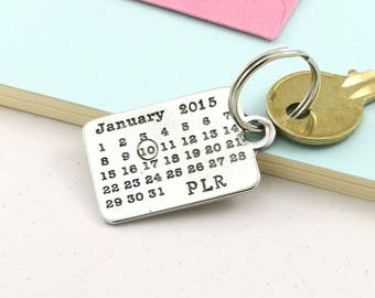 Personalised Pewter Calendar Keyring, Keychain a perfect Personalised Gift for Friends and loved ones.
