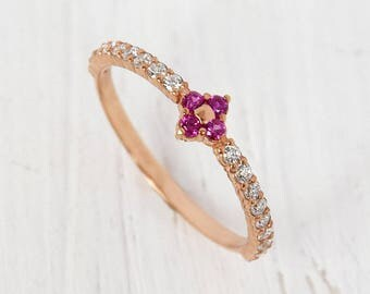 Ruby engagement ring, Ruby ring gold, Rose gold engagement ring, Ruby halo ring, Tiny ring gold, Dainty ring gold, Dainty engagement ring