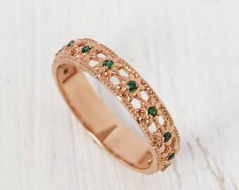 Emerald Ring Wedding Band Fine Gold