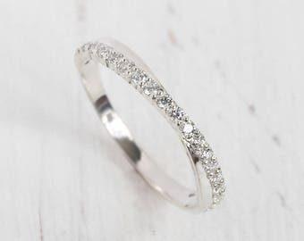 white stone band silver wedding band eternity ring eternity band fancy wedding - Silver Wedding Rings For Her