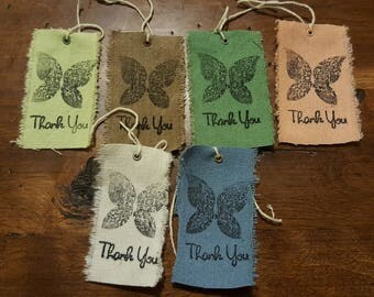 RAINBOW Set of 6 Muslin Reusbable Thank You Butterfly Fabric tags Rustic