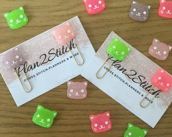 Set of 4 Cute Cat Paperclips