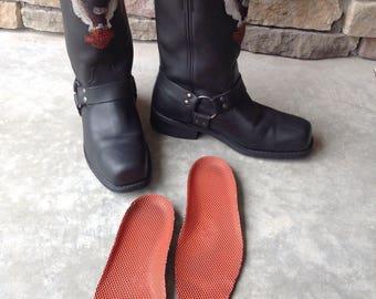 Vintage Black Leather Harley Davidson Motorcycle Boots