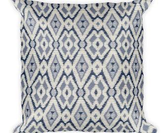 Blue Indian Square Pillow, Throw Pillow, Couch Pillow, Decorative Pillow, Modern Home Decor, Custom Pillow, Custom Home Decor, Euro Sham