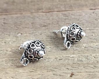 Stud Earrings, Sterling Silver Studs, Silver Studs, Silver Post Earrings, 8mm x 11mm, EWRS044