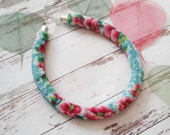 Crochet bead necklace Crochet jewelry Flower print Gales print Gift for woman Handmade accessories