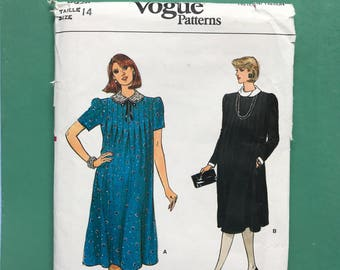 """Vogue 8928 Vintage Retro 1980's Maternity Dress, Tucked Front, Loose Fitting, Collar, Below Knee, Pregnancy Sewing Pattern Size 14 Bust 36"""""""