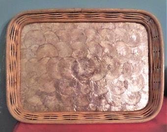 "Vintage Capiz Shell Bamboo Wood Tray.  16"" l X 12"" w X 1.5"" deep."