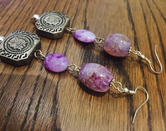 Ethnic earrings Amethyst and quartz purple