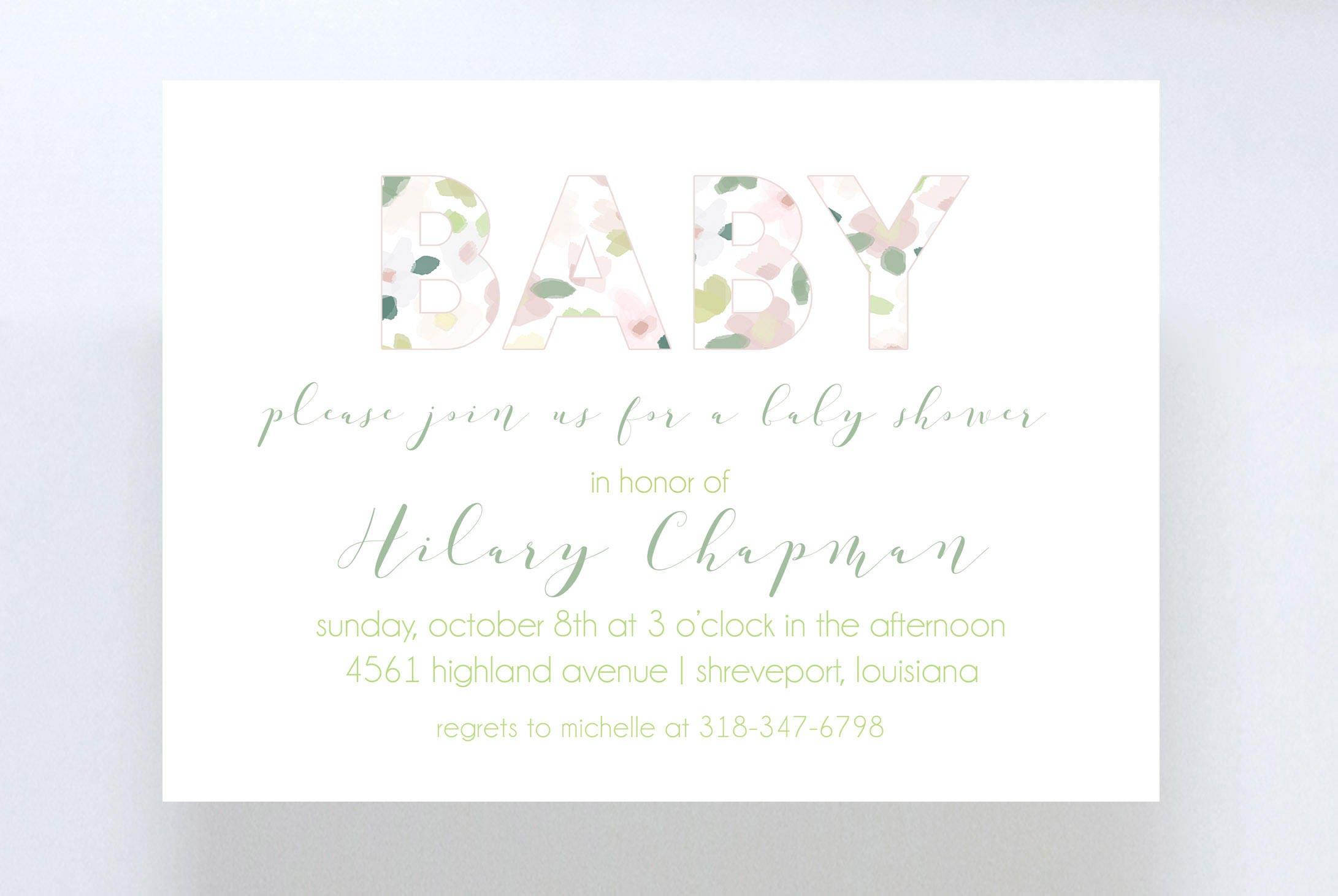 Floral Baby Shower Invitation//Gender Neutral Baby Shower ...