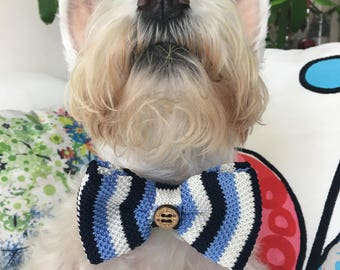 Dog Bow Tie, Dog, Blue Stripes, Blue, Stripes, Soft, Silk, Bow Tie, Dog Scarf, Dog bandana, Puppy Bow Tie