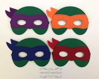 SET OF 4 Tmnt Party Masks, Tmnt Party Favors, TMNT Birthday,Teenage Mutant Ninja Turtle Party, Teenage Mutant Ninja Turtles, Ninja Party
