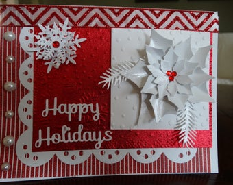 Red & White Poinsettia Happy Holidays Card