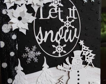 Black & White Snowman Christmas Card