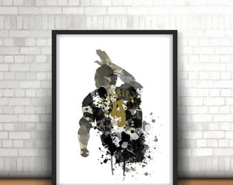 Alan Shearer Newcastle United Legend Art Print, Football Art, Mancave Decor, Boys Room Decor, The Magpies, Footy Art Print
