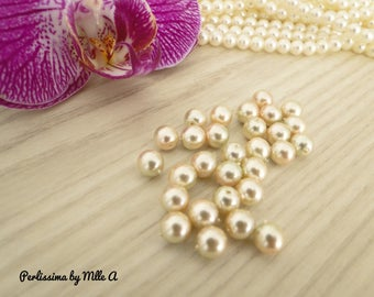 Set of 40 beautiful pearls of Mallorca Pearl iridescent pink and gray 6mm