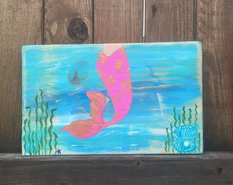 Opal Shores Mermaid Wall Art | Mermaid Decor | Nautical Decor | Mermaid Wood Sign | Pink Mermaid Rustic Sign