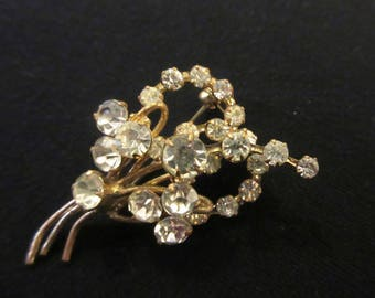 """Vintage Sparkling Clear Rhinestone Brooch """"Outstanding"""" Exquisite Detail  Art Deco Style"""