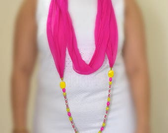 Neon pink infinity necklace scarf,beautiful beaded scarf, girlfriend gift, infinity scarf, pink scarf
