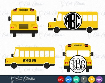 School Bus svg, Yellow Bus svg, School Bus Monogram svg, Back To School, Files for Silhouette Cameo or Cricut, Commercial & Personal Use.