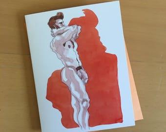 Erik in Orange Blank Greeting Card with Envelope