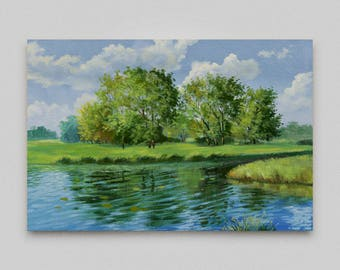 Oil painting Landscape Original oil painting Canvas art Wall art Realism Home wall decor Small artwork River landscape Original art