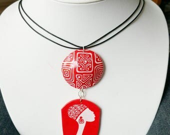 Tribal red polymer clay necklace