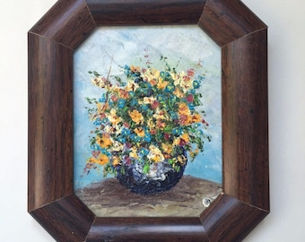 The flowers: Small oil painting, original, handpainted from Ukraine