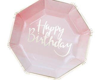 Happy Birthday Party Plates, Blush Pink Paper Plates, Gold Party Plates, Birthday Party Plates, Pink and Gold Party, Party Plates, Birthday