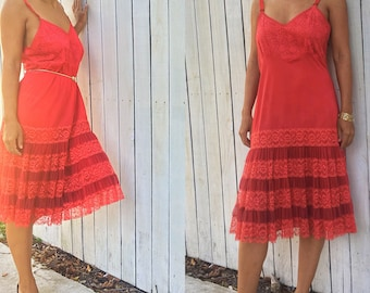 Vintage 1960s Mary Barron Red Lace and Ruffle Semi-Sheer Slip Dress