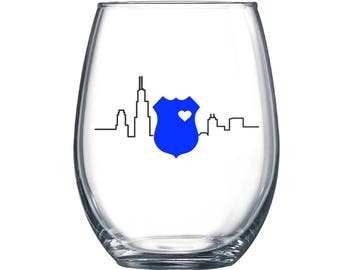 Chicago Law Enforcement Police Wine Glass