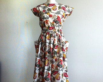 jungle print summer dress 1980