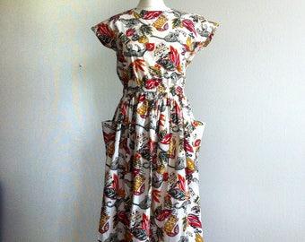 jungle print summer dress 1980