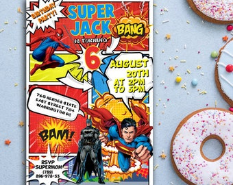 superhero invitation, FAST customization, same day customized on weekdays, superhero birthday invitation, superman invitation, avengers