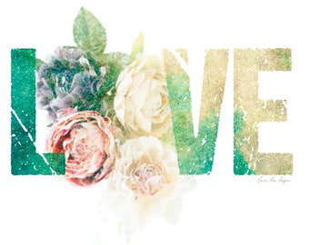 Love poster, poster, love print, colorful print, wall poster, flower Illustration A4 poster